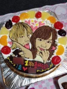 ご結婚一周年のお祝い似顔絵ケーキ
