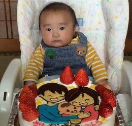 一家の似顔絵ケーキ