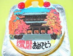 神社イラストケーキ