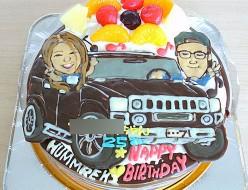 似顔絵と車ケーキ