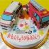 消防車と救急車立体ケーキ