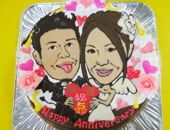 似顔絵ケーキ、ご結婚5周年お祝い