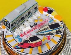 JR横須賀線電車立体と伊豆アルファーリゾート21・小田急8000形電車イラストケーキ