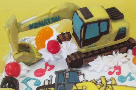 パワーショベルとブルドーザのケーキ