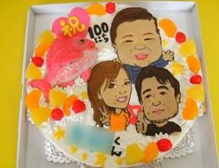 生後100日お祝い似顔絵ケーキ