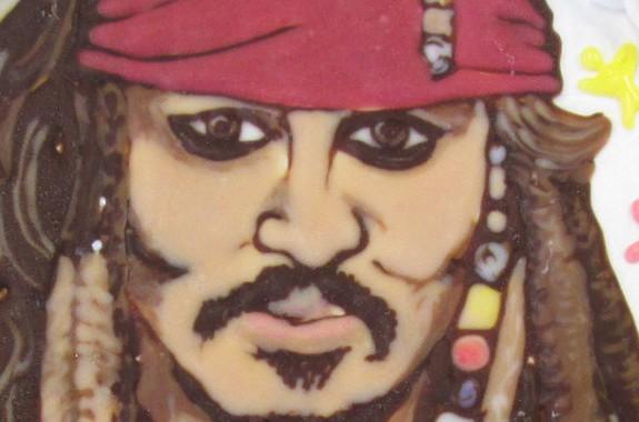 ジョニーディップ、パイレーツオブカリビアン似顔絵ケーキ