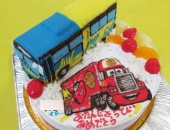 カーズトレーラー マックとバス立体ケーキ