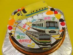 ドクターイエローと電車イラストケーキ