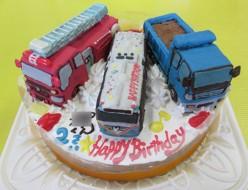 消防車、トラック、バス立体のせケーキ