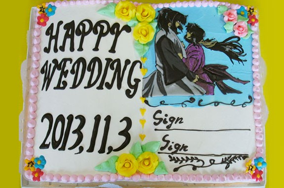 署名ができるウェディングケーキ