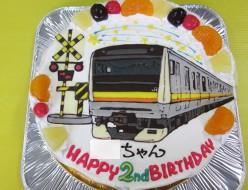 南武線電車と踏切のケーキ