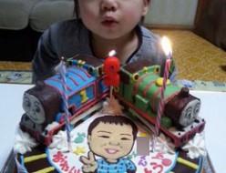 似顔絵とトーマスとパーシーのケーキ
