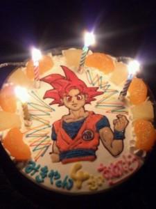 ドラゴンボールスーパーサイヤ人ゴッドのケーキ