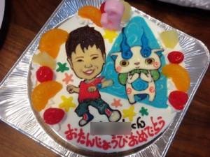妖怪ウォッチと似顔絵のケーキ