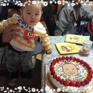 1歳のお誕生祝い、似顔絵ケーキ