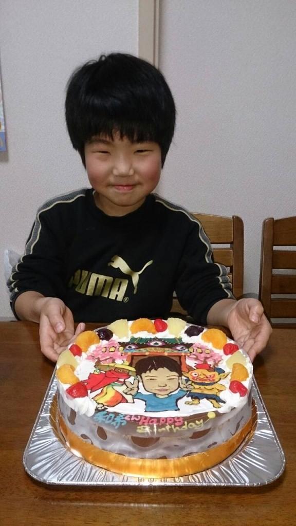 妖怪ウォッチ妖魔界と似顔絵のケーキ