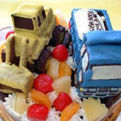 トラックとブルドーザ立体ケーキ