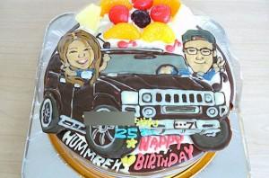 似顔絵と車のケーキ