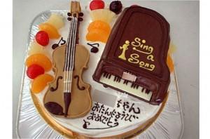 ピアノとバイオリンのケーキ