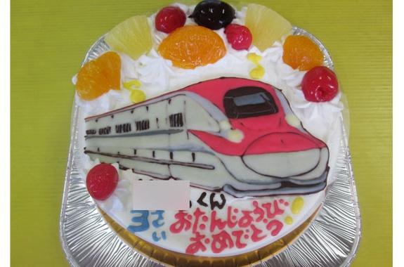 新幹線こまちイラストケーキ オリジナルケーキ おぐに 電車 車 キャラクター 似顔絵ケーキ宅配通販