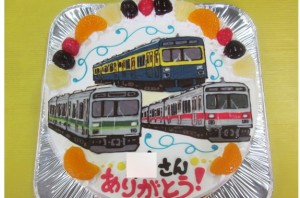 東急1000系の電車3台イラストケーキ