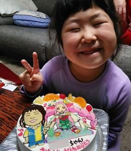 プリキュアと似顔絵のケーキ