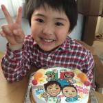 似顔絵とスーパーマリオのケーキ