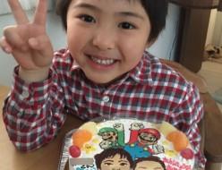 似顔絵とスーパーマリオケーキ