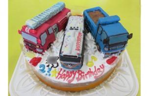 消防車トラックバス立体のせケーキ