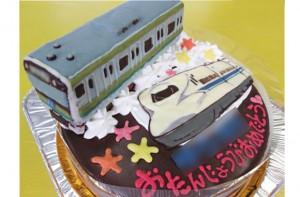横浜線電車と新幹線のぞみケーキ