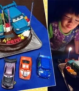 カーズ、DJとウィンゴ立体のせケーキ
