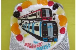 ミュースカイ、名鉄2200電車イラストケーキ