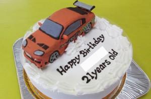 ワイルドスピードのスープラ車立体ケーキ