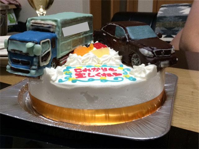 トラック、クラウン立体ケーキ