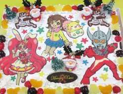 クリスマスパーティーキャラクターケーキ