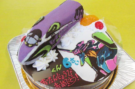 エヴァンゲリヲン新幹線とエヴァ初号機イラストケーキ オリジナルケーキお