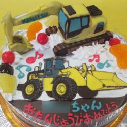 パワーショベル立体とブルドーザのケーキ