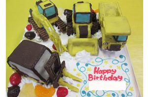 ブルドーザ他建機立体ケーキ