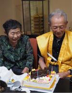 米寿のお祝い、蒸気機関車立体ケーキ