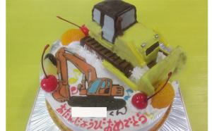 ブルドーザとパワーショベルのケーキ