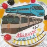 ロマンスカーとEXE電車イラストケーキ