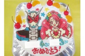 仮面ライダージオウとプリキュアヒーリングットピンクのケーキ