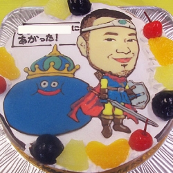 ドラクエキングスライムと似顔絵のケーキ