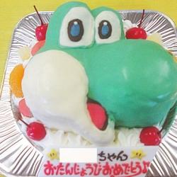 ヨッシーの顔の立体ケーキ